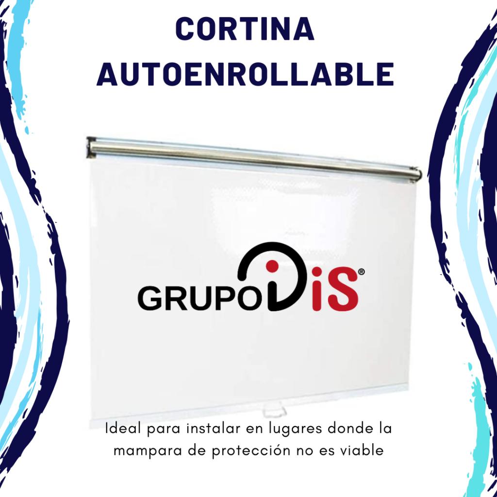 Cortina autoenrollable, fabricada con tejido transparente de 0,5mm de espesor, que sirve de barrera a las micropartículas de saliva , que pueden ayudar a mitigar el contagio de virus, como el Covid-19.